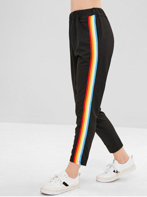 affordable Colorful Stripes Straight Pants - BLACK M Mobile