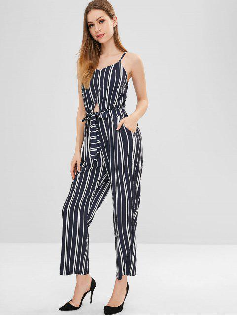 affordable Belted Cut Out Striped Wide Leg Jumpsuit - DARK SLATE BLUE L Mobile