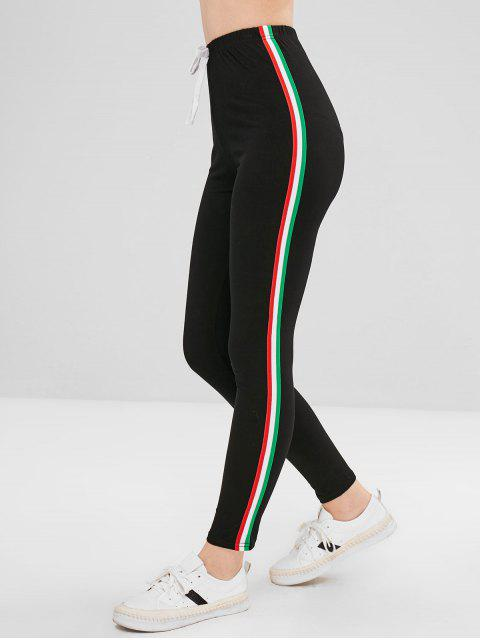 Pantalones pitillo con adornos a rayas de bowknot - Negro S Mobile