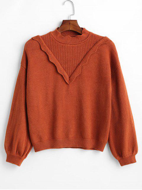 Suéter festoneado con pechera de canalé - Caoba Única Talla Mobile