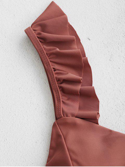 ladies ZAFUL Ruffle Lattice Bikini Set - LIPSTICK PINK L Mobile