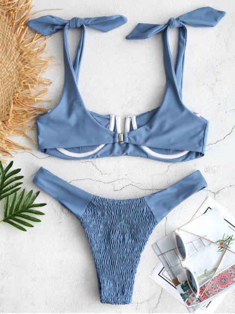 ZAFUL Ensemble de Bikini Plissé à Épaule Nouée - Bleu Koi L Mobile