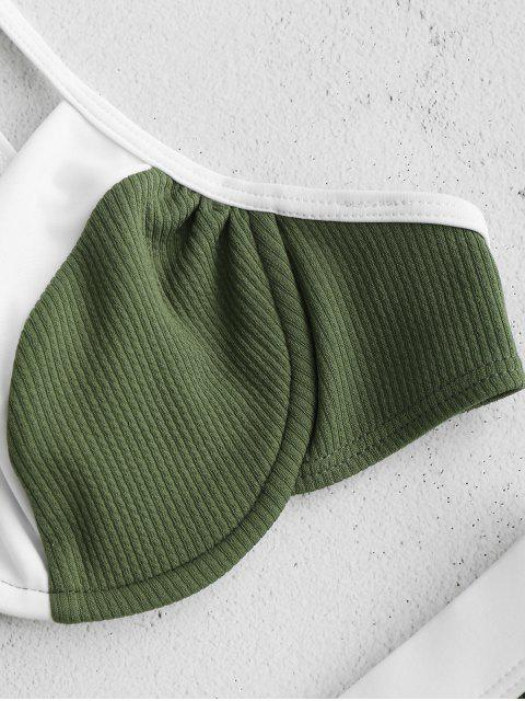 lady ZAFUL Underwire Color Block Ribbed Bikini Set - DEEP GREEN L Mobile