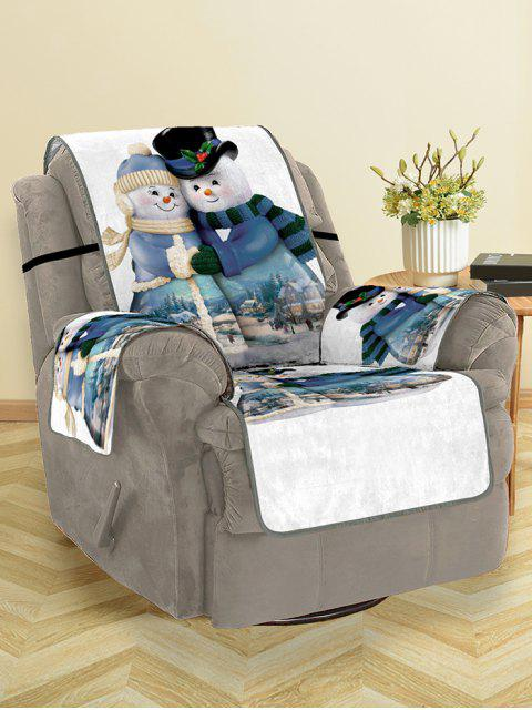 chic Christmas Snowman Couple Pattern Couch Cover - MULTI SINGLE  SEAT Mobile