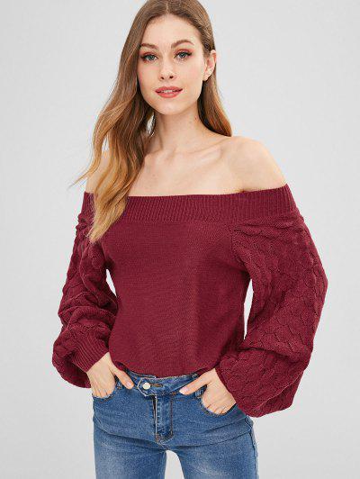 ZAFUL Lantern Sleeve Boxy Sweater - Red Wine
