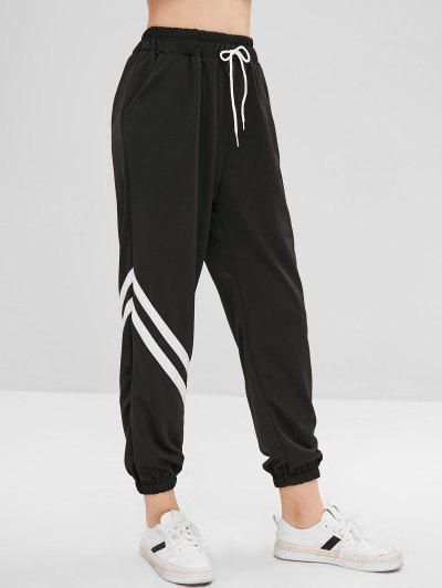 Drawstring Stripes Jogger Pants, Black