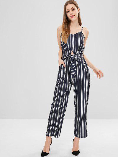 503011323d75 Belted Cut Out Striped Wide Leg Jumpsuit - Dark Slate Blue - Dark Slate  Blue L