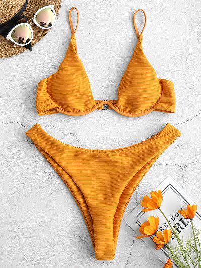 63dbbb5826112 Qonew Underwire High Cut Textured Bikini Set - Orange Gold Orange Gold S S