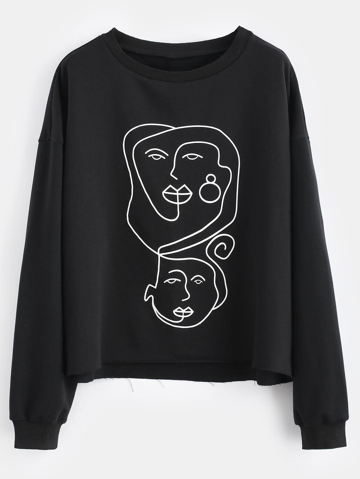 Face Graphic Raw Hem Sweatshirt