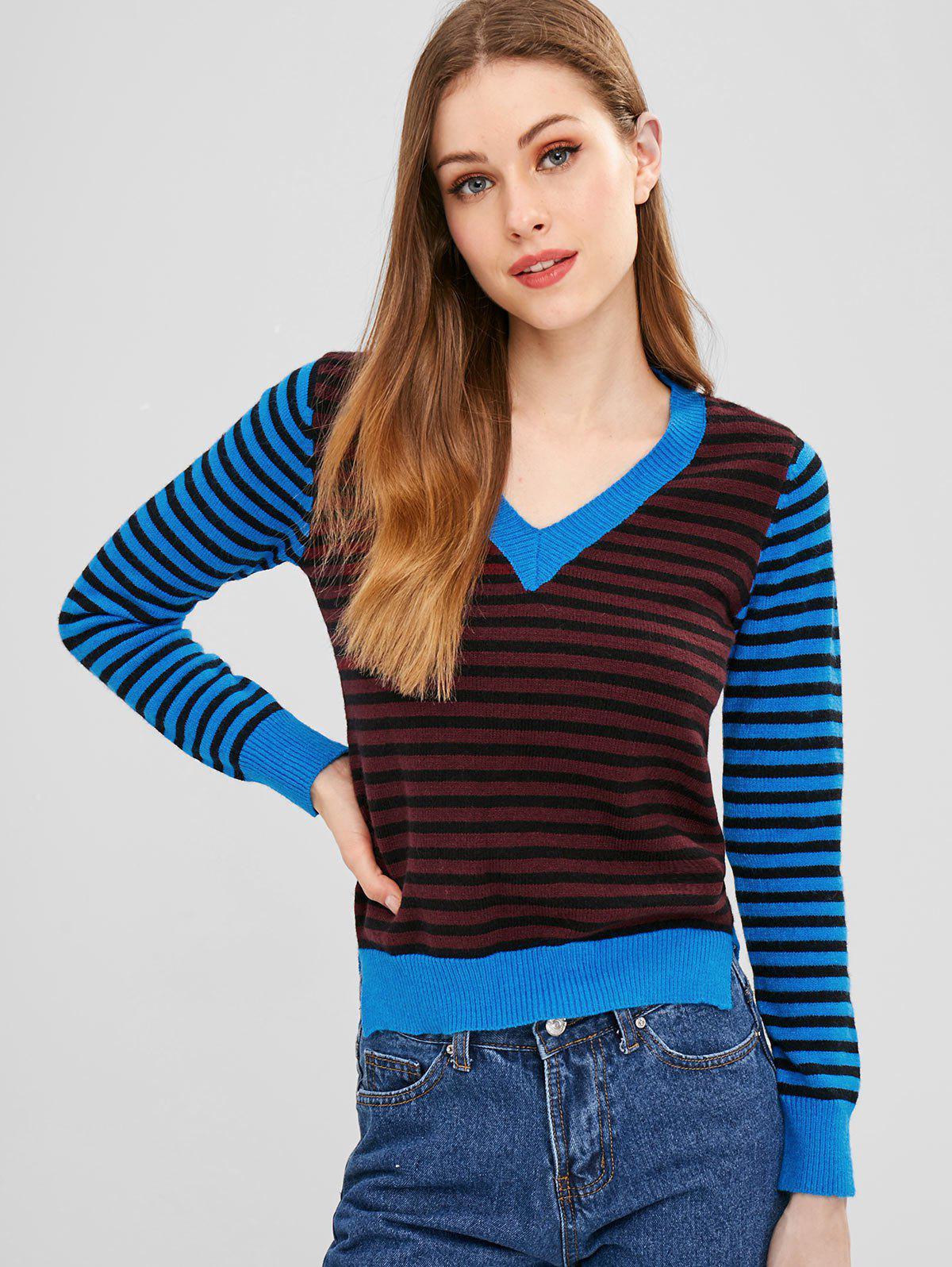ZAFUL Slit Stripes V Neck Sweater фото