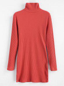ZAFUL المضلع الياقة المدورة البسيطة اللباس - كستنائي أحمر L