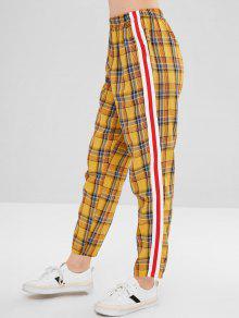 منقوشة سترايبس سروال مستقيم - بني ذهبي M