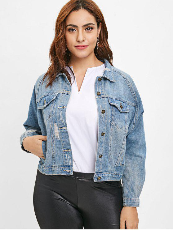 women Ripped Plus Size Denim Jean Jacket - DENIM BLUE 3X