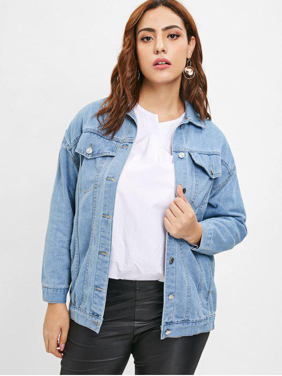 ladies Embroidered Plus Size Denim Jacket - DENIM BLUE 2X