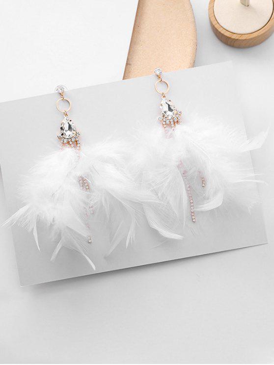 ladies Water Drop Zircon Decor Drop Earrings - WHITE
