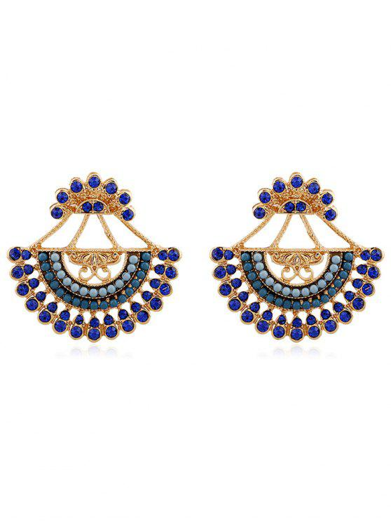 chic Rhinestone Inlaid Beaded Stud Earrings - GREENISH BLUE