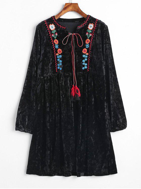 Vestido de camurça bordada de veludo - Preto L