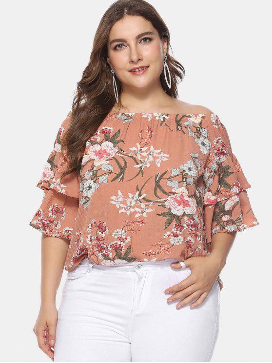 e16db4c0aa0a8c 31% OFF] 2019 Floral Plus Size Off Shoulder Blouse In MULTI | ZAFUL