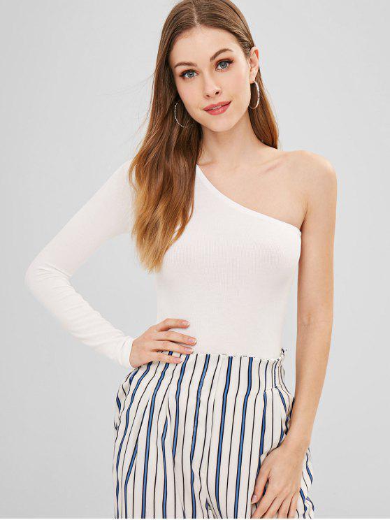 Um ombro alto corte bodysuit - Branco M
