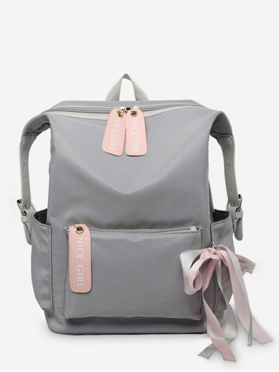 shop Bowknot and Letter Pattern School Backpack - ASH GRAY