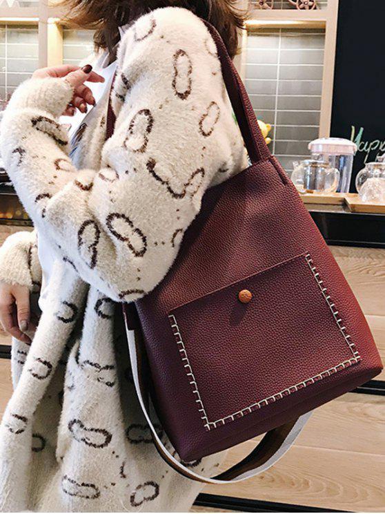 women's Soild Color Design Vintage Shoulder Bag - RED WINE