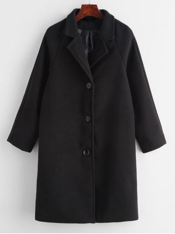 Button Front Solid Color Coat   Black S by Zaful