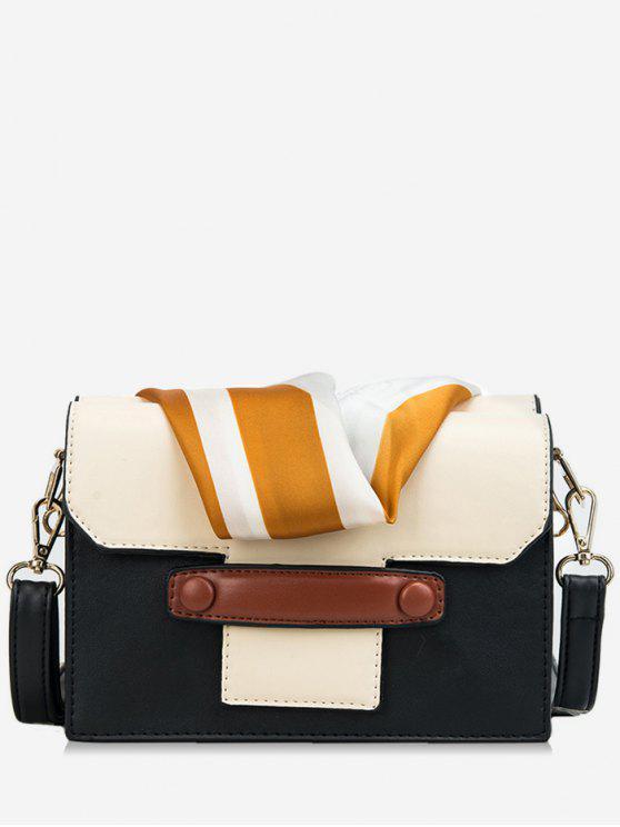 fashion Striped Scarf Design Color Block Crossbody Bag - BLACK