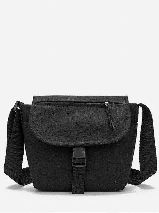 womens Canvas Hasp Design Student Crossbody Bag - BLACK