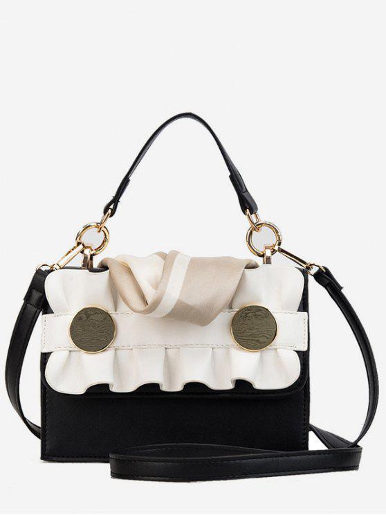 outfits Wave Shape and Scarf Design Handbag - BLACK