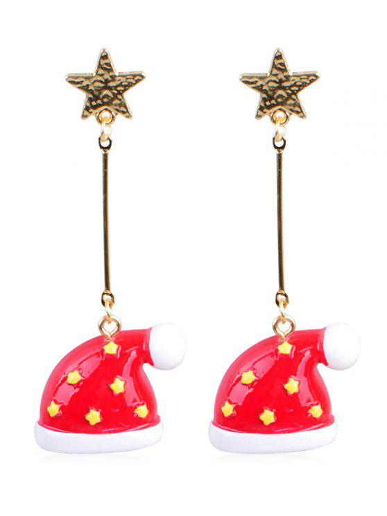 sale Christmas Hat Star Decor Earrings - MULTI