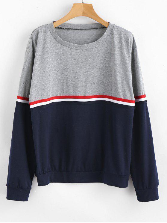 lady Stripe Color Block Long Sleeves T Shirt - MULTI-A L
