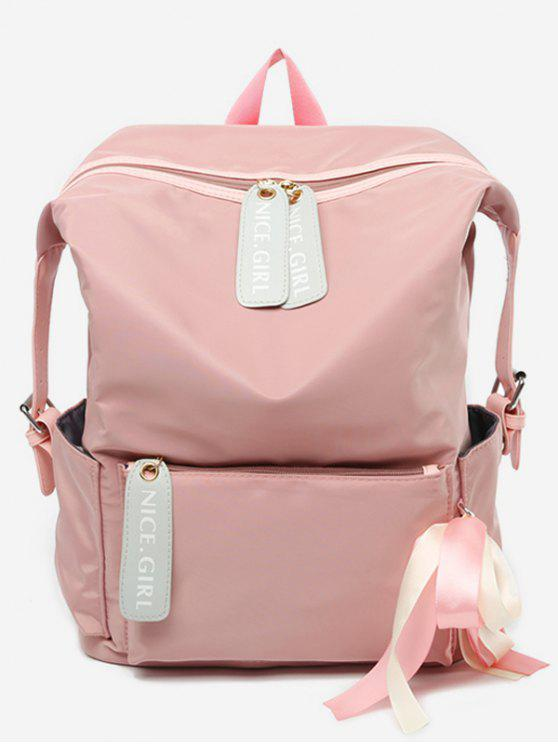 new Bowknot and Letter Pattern School Backpack - LIGHT PINK