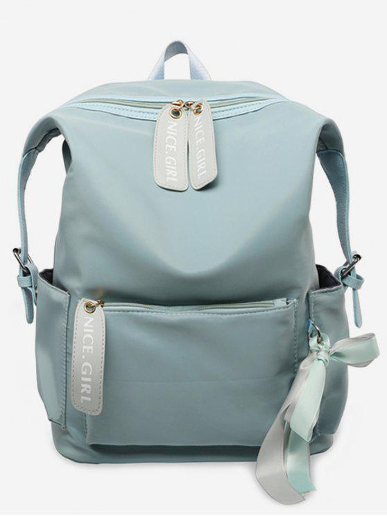 hot Bowknot and Letter Pattern School Backpack - BLUE HOSTA