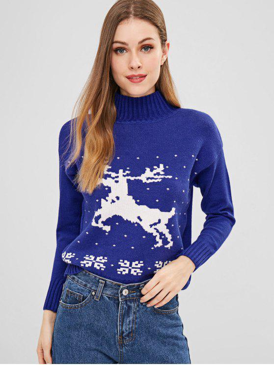 Camisola de Natal gráfico de rena de pescoço Mock - Azul Um Tamanho