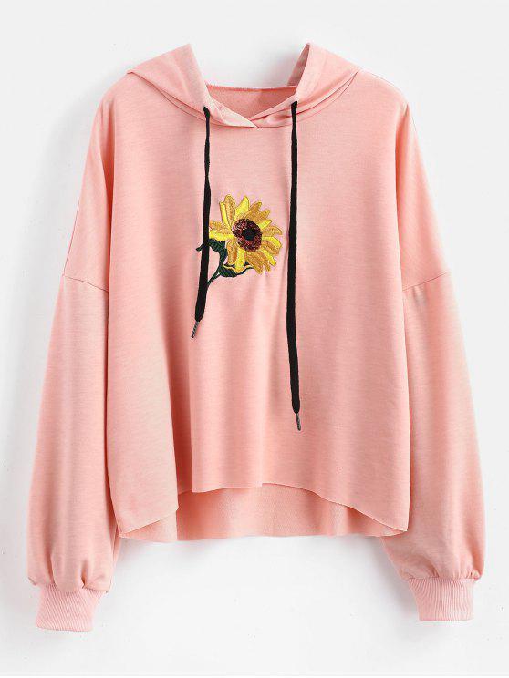 Sweat à Capuche Fleur Brodée avec Paillette - Rose  S