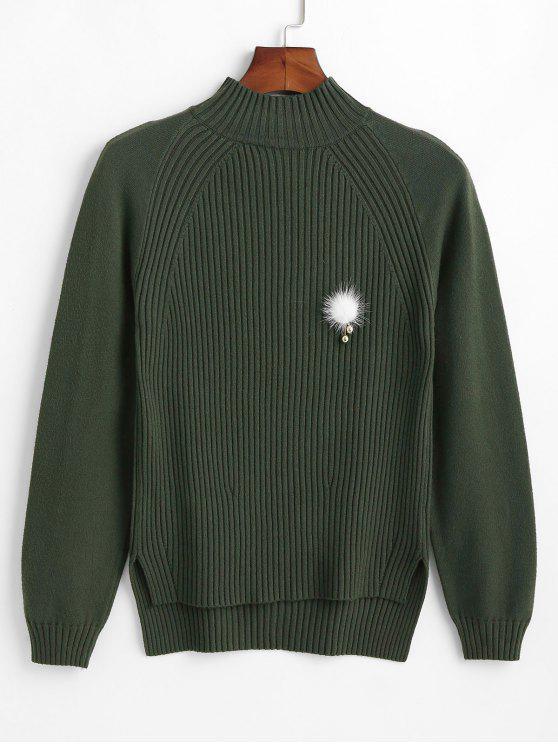 Suéter acanalado con broche de pompón - Ejercito Verde Talla única