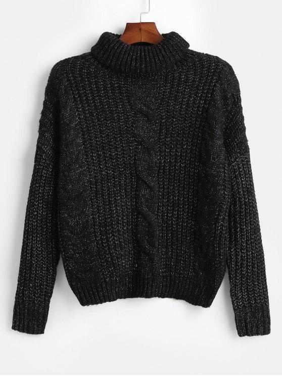 latest Turtleneck Oversized Cable Knit Sweater - BLACK ONE SIZE