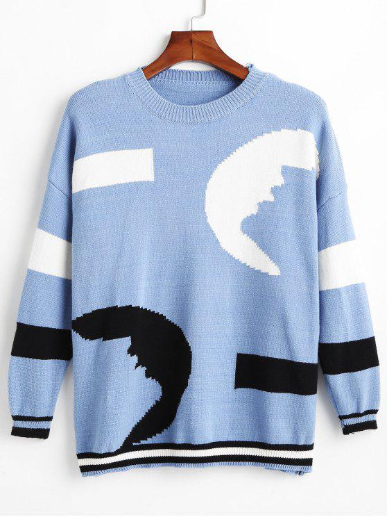 Tricolor Jacquard-Pullover mit Schulterausschnitt - Blaue Koifisch Eine Größe