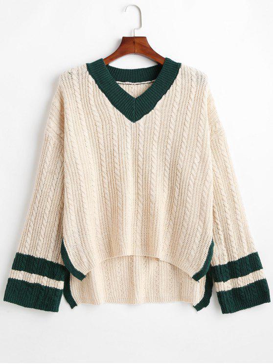 Suéter Preppy de gran tamaño con cuello en V de tejido de cable - Blanco Almendra Talla única