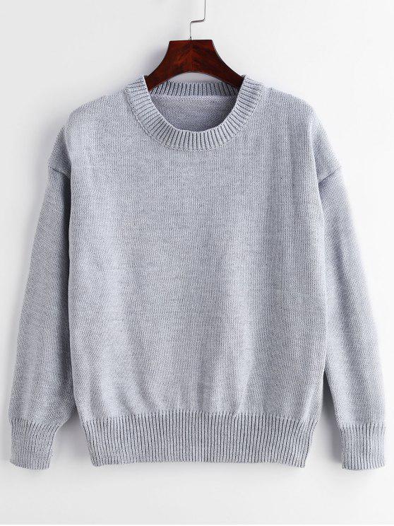 Rundhals Pullover mit Rundhalsausschnitt - Hellgrau Eine Größe
