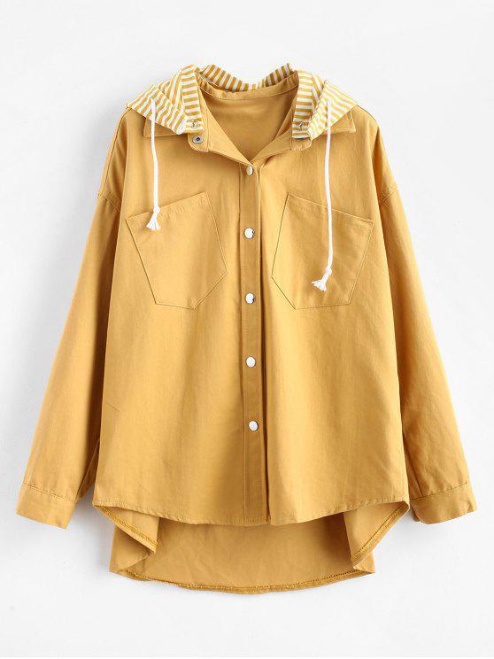 Chaqueta de botones a presión con capucha desmontable a rayas - Amarillo de Sol  S