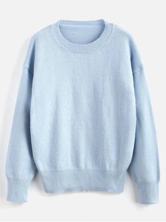 Camisola lisa do pescoço de grupo do pulôver - Azul claro Um Tamanho