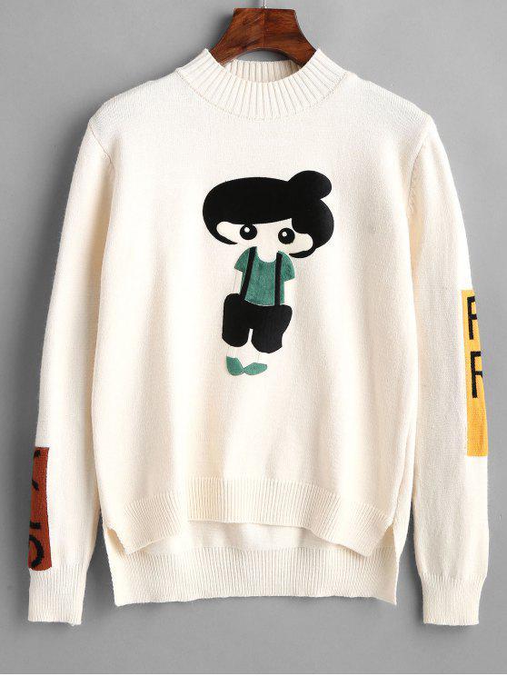 Suéter linda chica parcheado - Blanco Talla única