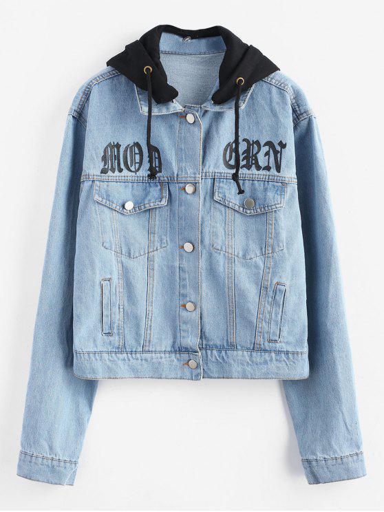 Botão destacável da capa para cima jaqueta jeans - Jeans Azul S