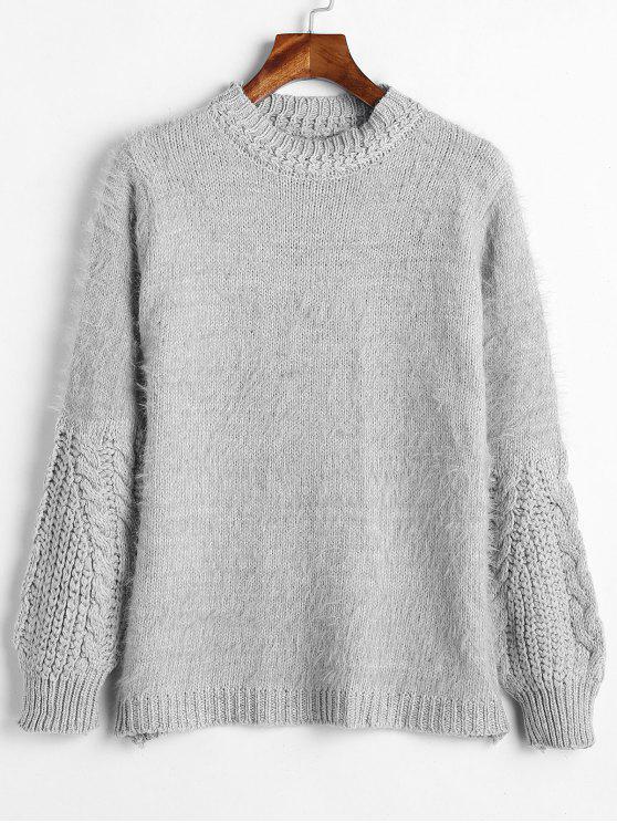 Flauschiger Zopfstrick-Mixed Sweater - Hellgrau Eine Größe