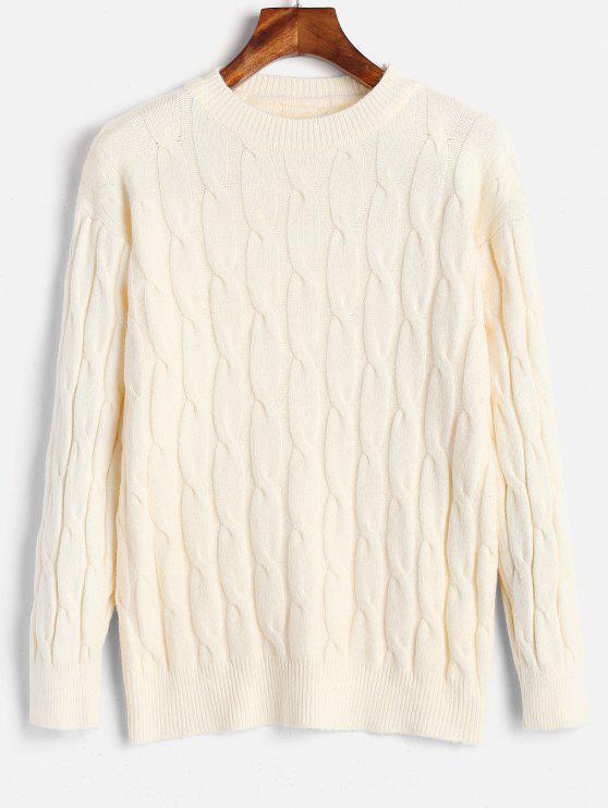 Suéter básico de tejido de cable - Blanco Cálido Talla única