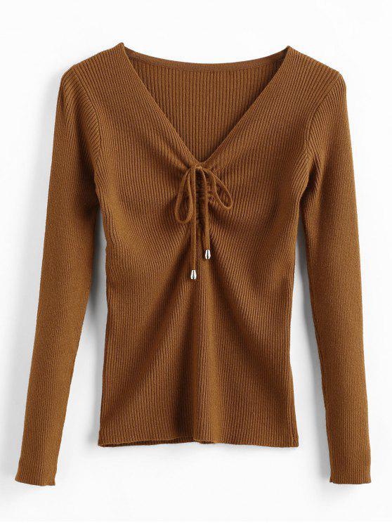 Suéter ceñido con cuello en V - Marrón Talla única