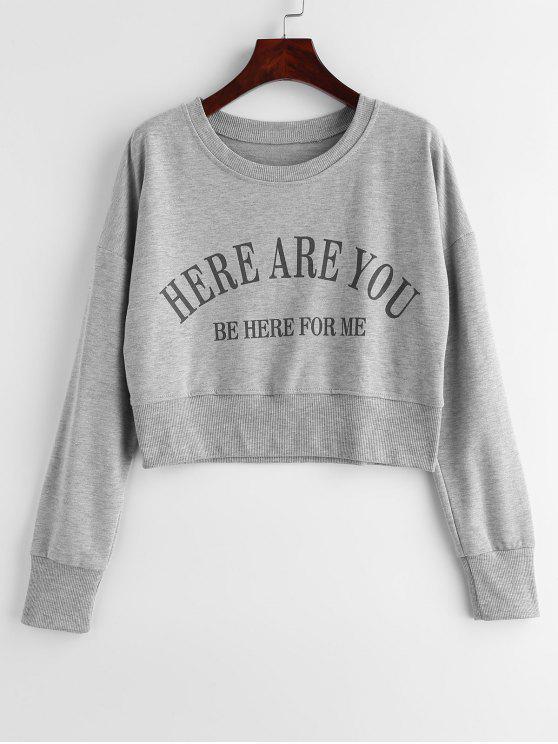 Cropped Graphic Drop Schulter Sweatshirt - Graue Wolke M