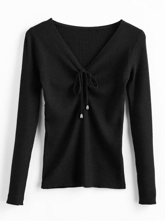 Pullover mit V-Ausschnitt - Schwarz Eine Größe