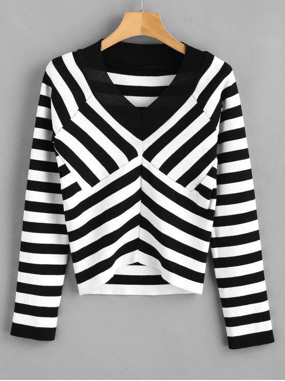 Gestreifter Chevron Raglan Sleeve Sweater - Multi Eine Größe